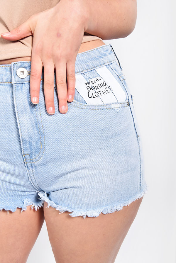 Light Wash Printed Taped Striped Shorts