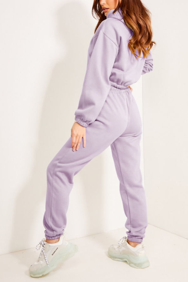 Lilac Drawstring Cropped Hoodie And Joggers Tracksuit