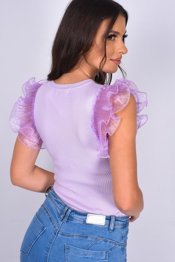 Lilac Frill Sleeve Ribbed Bodysuit