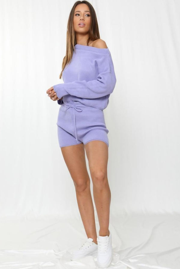 Lilac Knitted Short Lounge Set