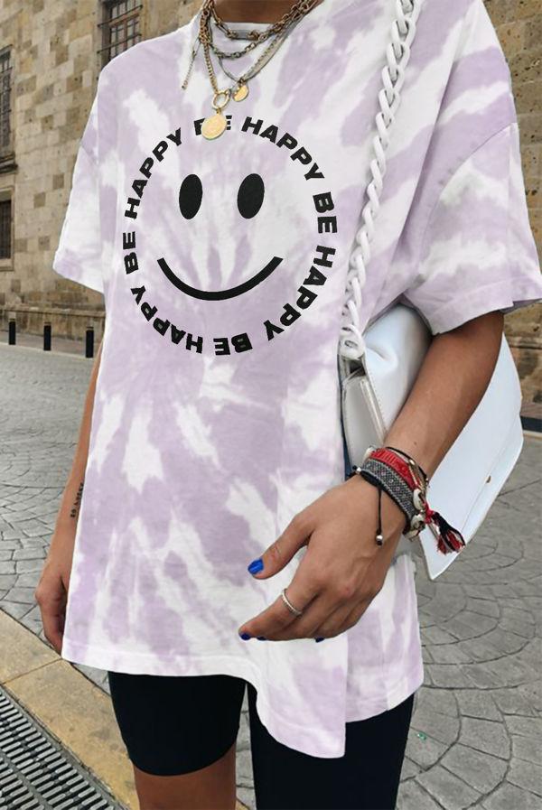 Lilac Tie Dye Be Happy Oversized Tee