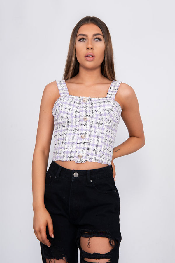 Lilac Tweed Button Front Tank Top