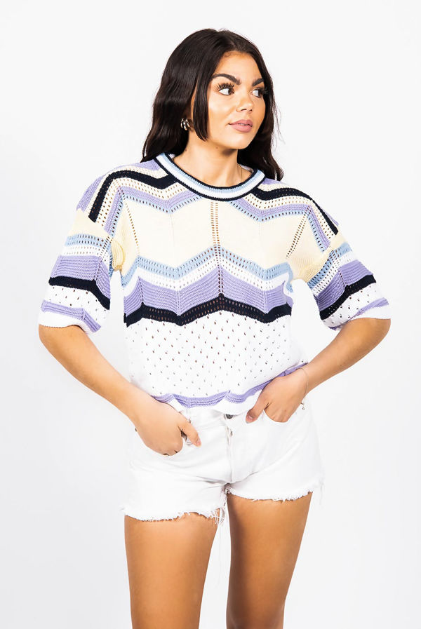 Lilac Zigzag Knitted Top