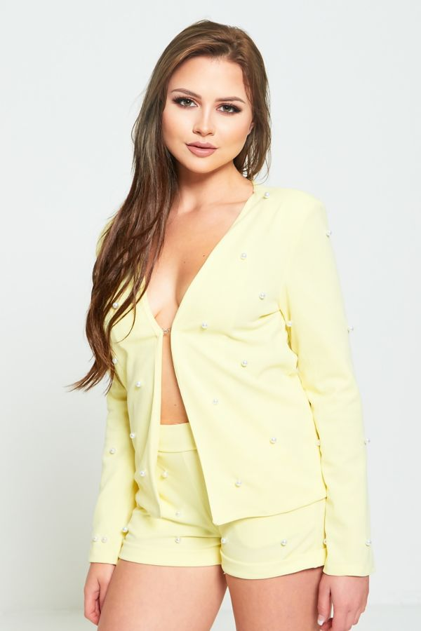 Lime Pearl Detailing Blazer And Shorts Co-ord Set