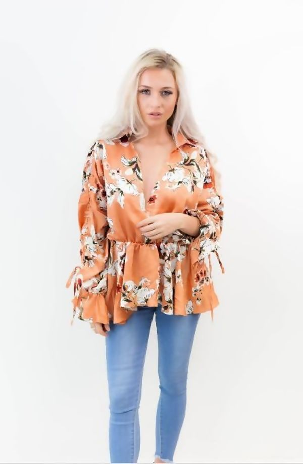 Mustard Collar Wrap Over Floral Top