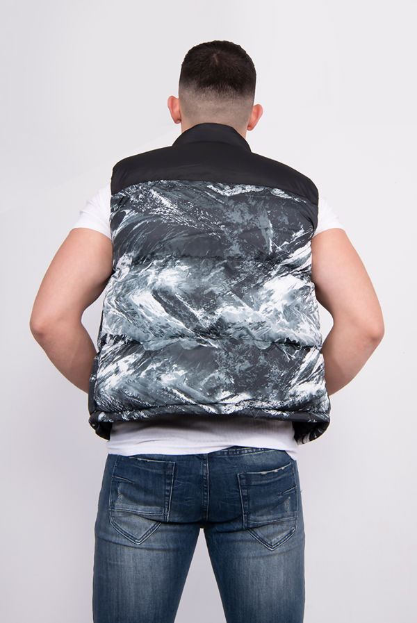 Marbled Print Padded Puffer Gilet