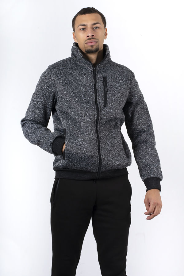 Marl Textured Funnel Neck Zip Through Sweatshirt