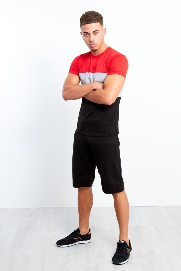Mens Black Blocked Colour T-shirt And Shorts Set