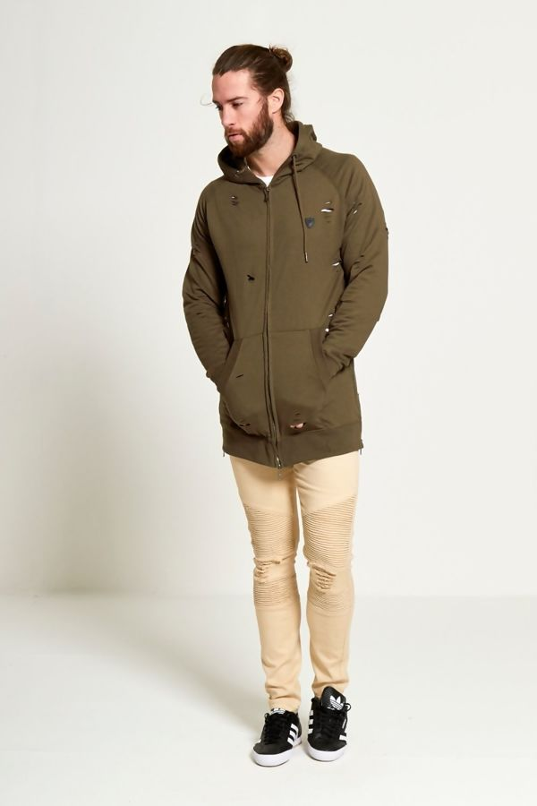 Mens Khaki Long Line Distressed Hoodie