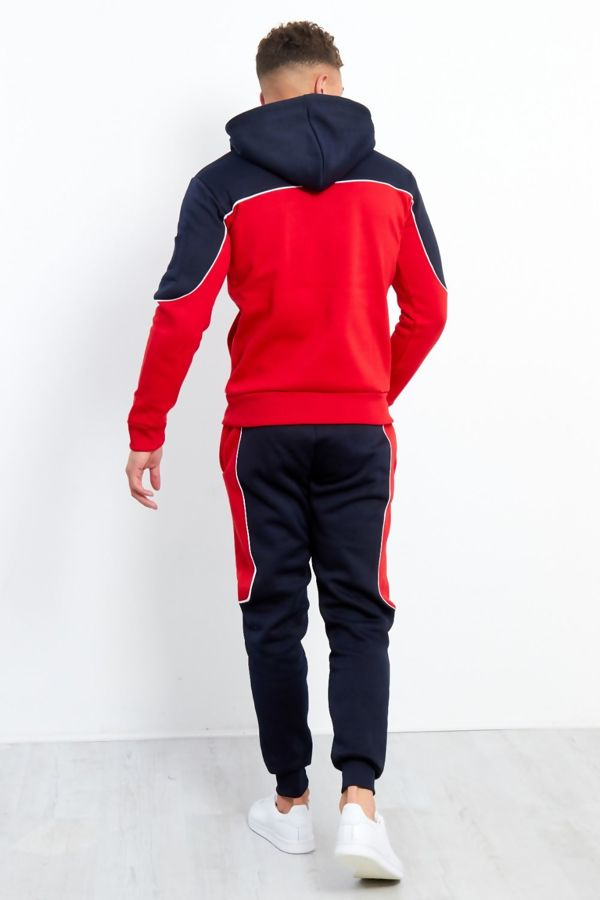 Mens Red And Navy Blocked Pull Through Tracksuit
