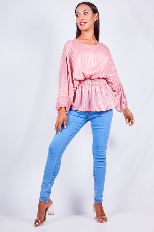 Mesh Metallic Stripe Batwing Blouse