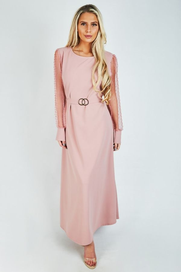 Dusty Mesh Sleeve Maxi Dress