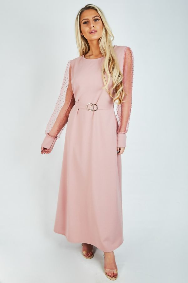 Cream Mesh Sleeve Maxi Dress