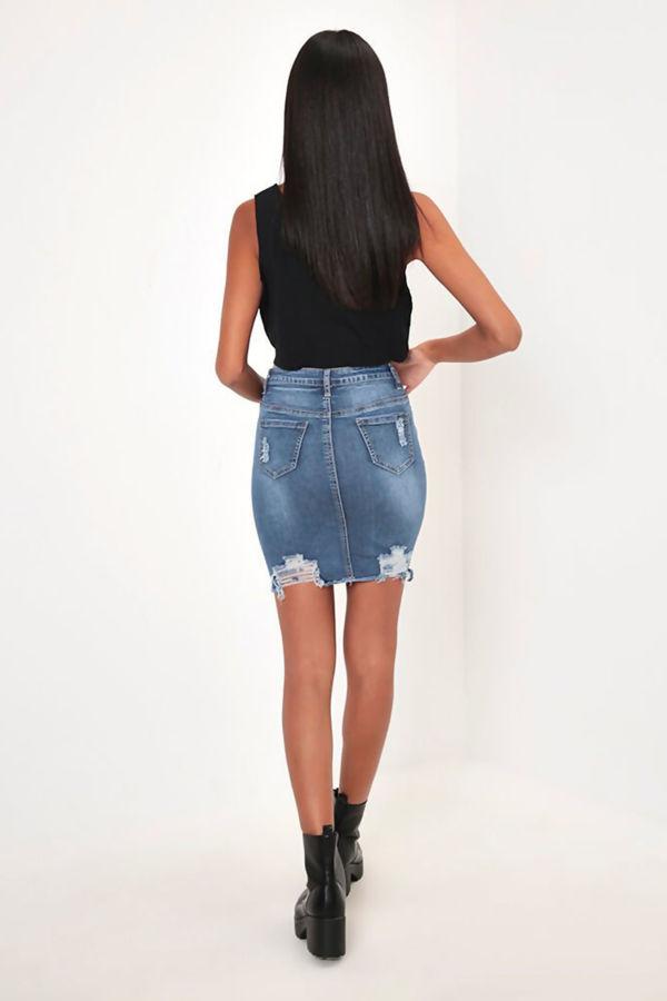 Mid Denim Distressed Mini Skirt
