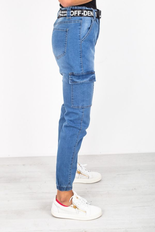 Mid Wash Cargo Pocket Denim Jeans