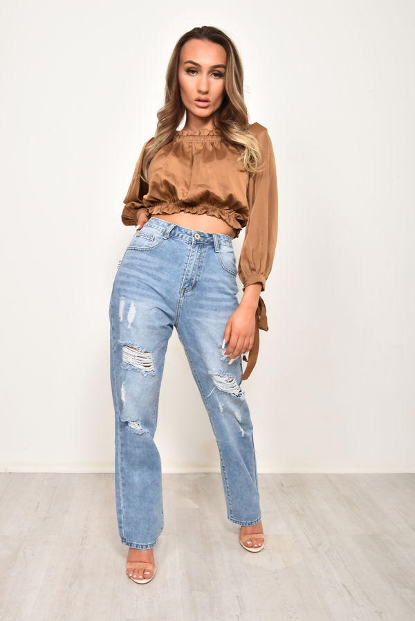 Mid Wash Distressed Baggy Jeans