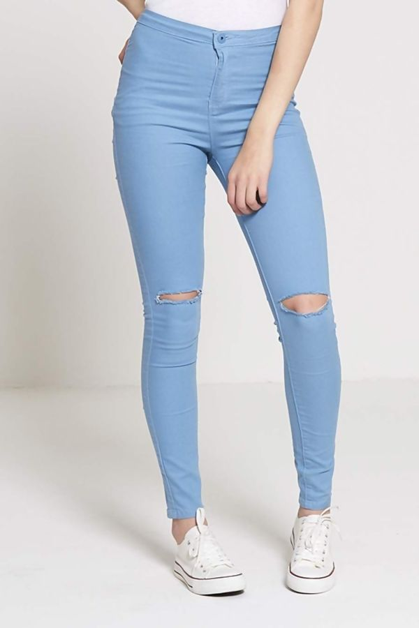 Mint High Waisted Ripped Knee Skinny Jeans