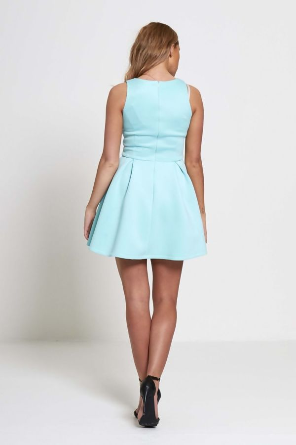 Mint Pleated Skirt Mini Dress