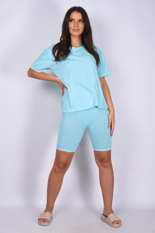 Mint T-shirt and Cycling Shorts Set