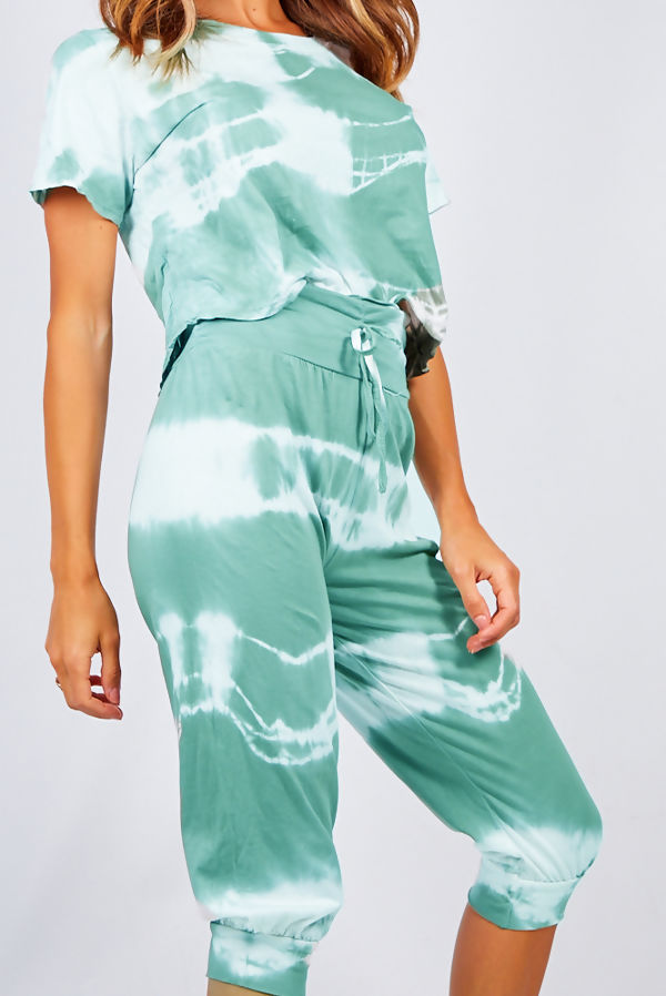 Mint Tie Dye Crop Top And Harem Cap Set