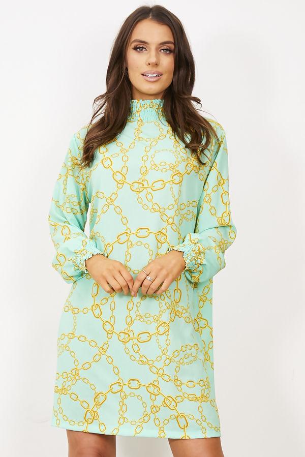Mint Victorian Collar Printed Dress