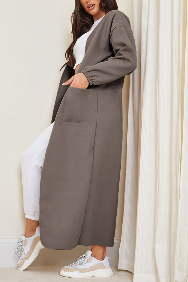 Mocha Balloon Sleeve Maxi Pocket Front Coat