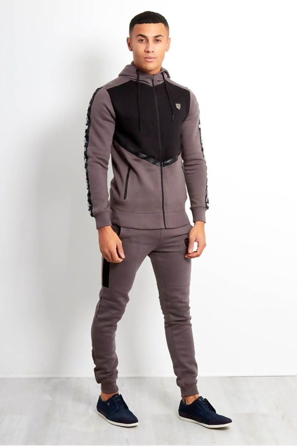 Mocha Contrast Chest Panel Doodle Detailed Skinny Fit Tracksuit