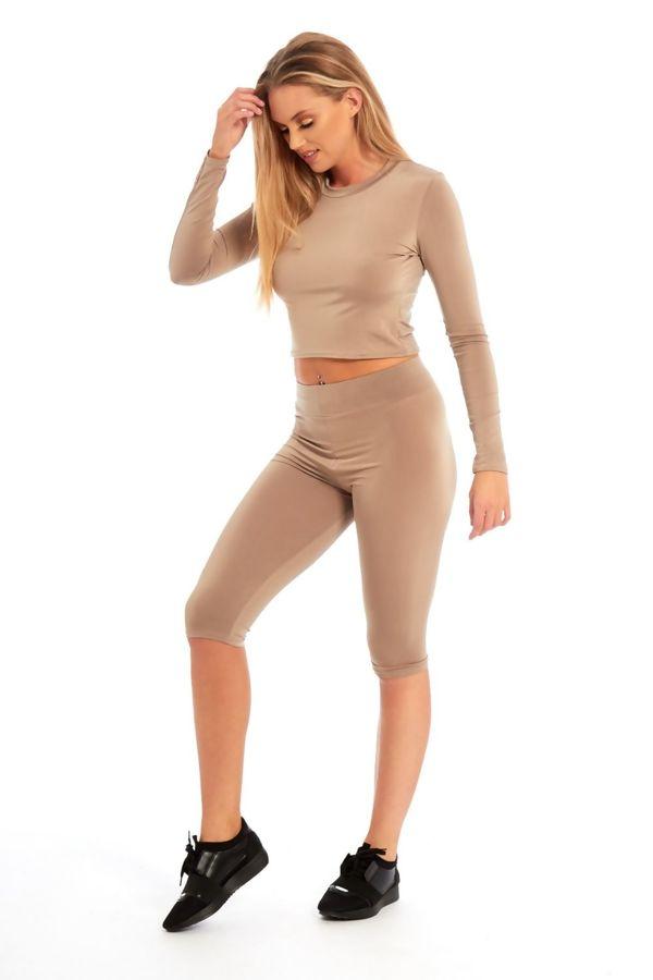 Mocha Crop Top And Legging Shorts Set