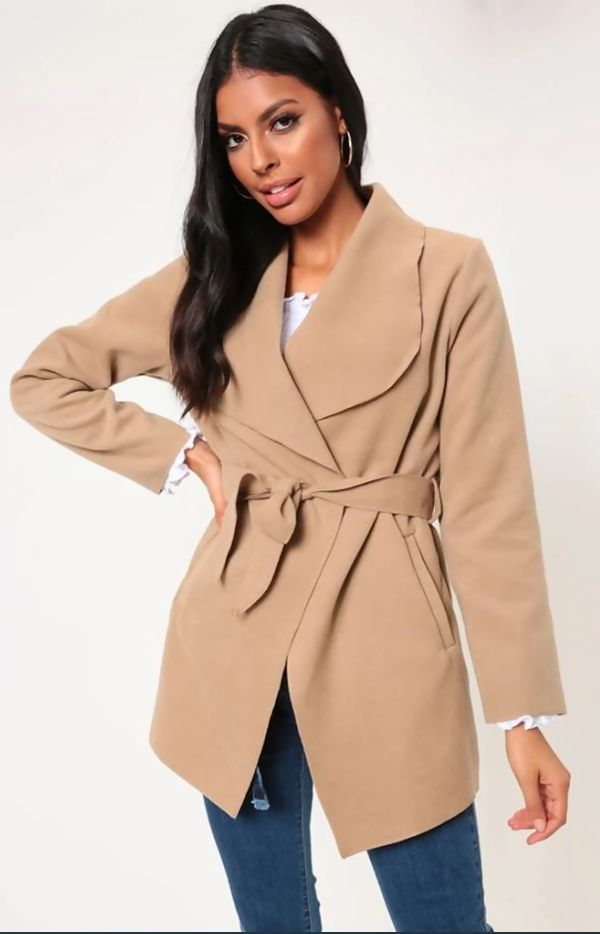 Mocha Cropped Waterfall Coat