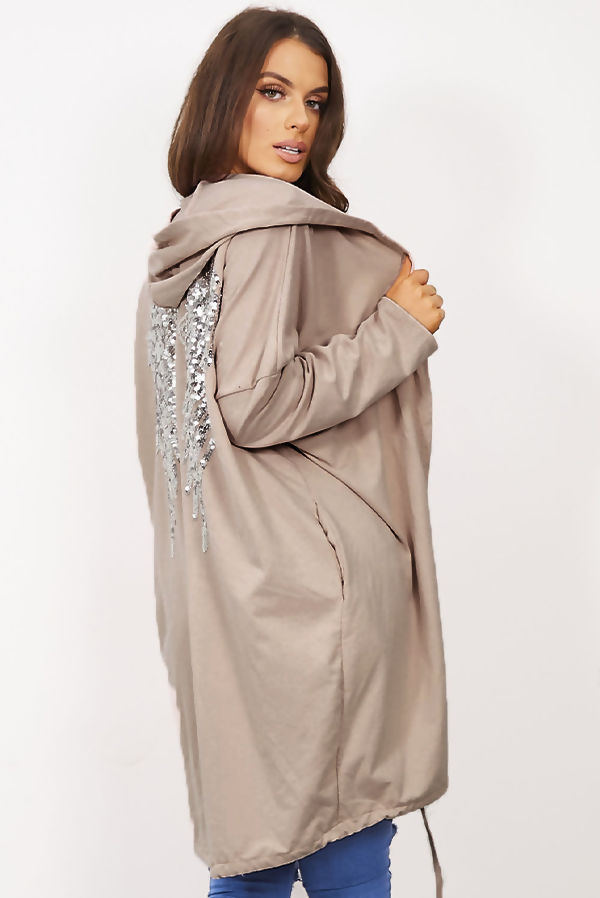 Mocha Sequin Angel Wing Hooded Cardigan