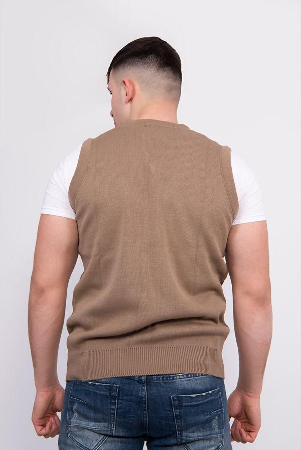 Plus Size Mocha V-Neck Sleeveless Knitted Jumper
