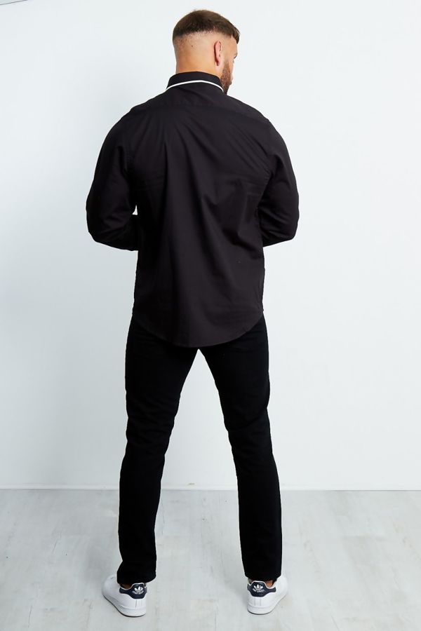 Monochrome Collar Long Sleeve Shirt
