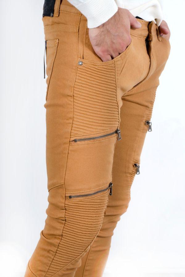 Camel Ribbed Knee Zipped Skinny Jeans