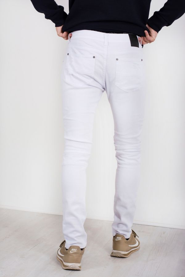 White Ribbed Knee Ripped Skinny Jeans