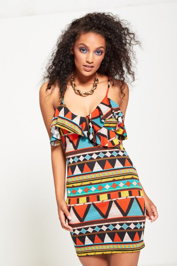 Multi Aztec Print Strappy Dress