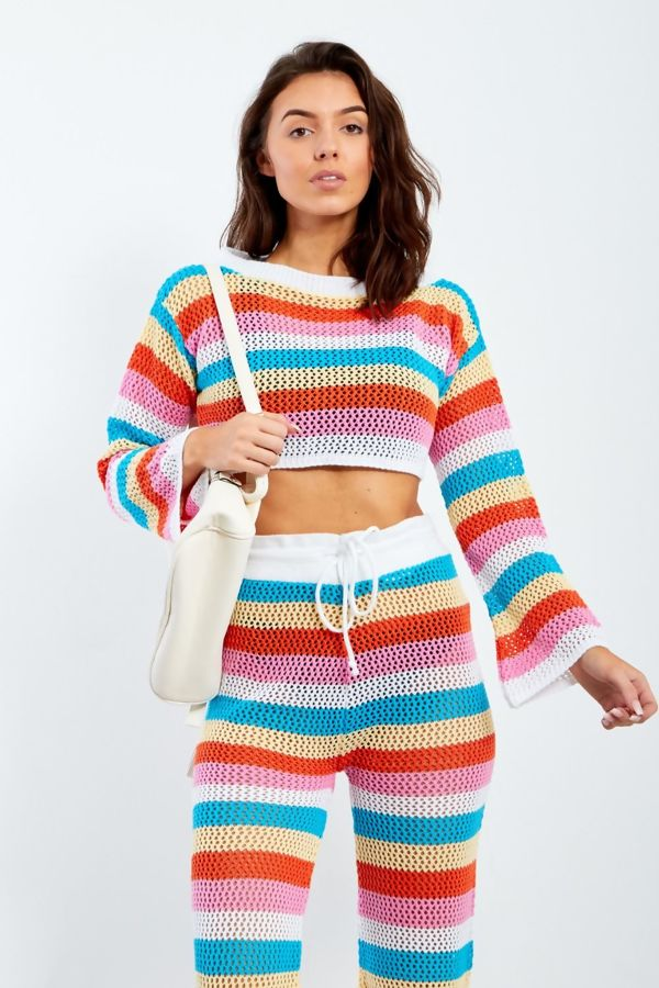Multi Crochet Crop Top and Trouser Set