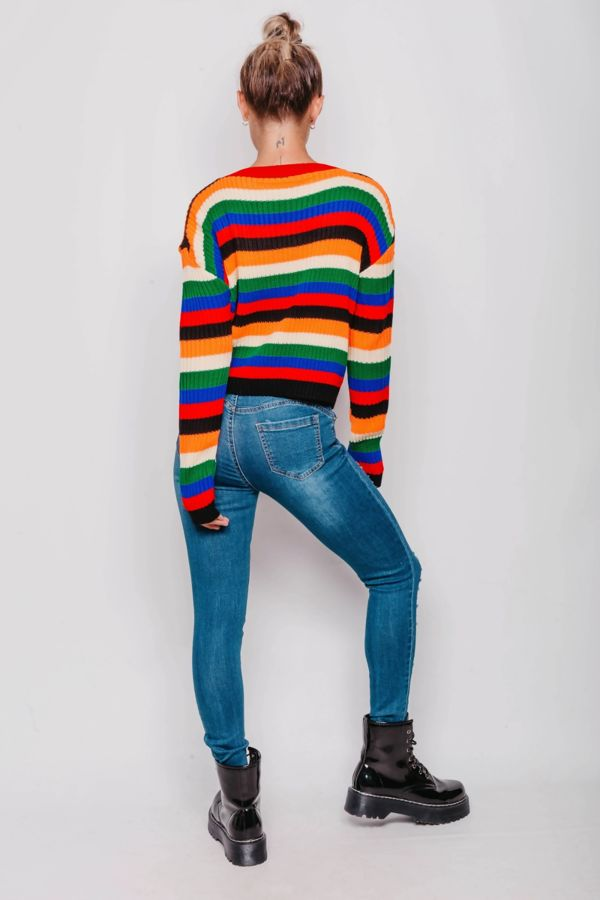 Multicolour Striped Knitted Jumper