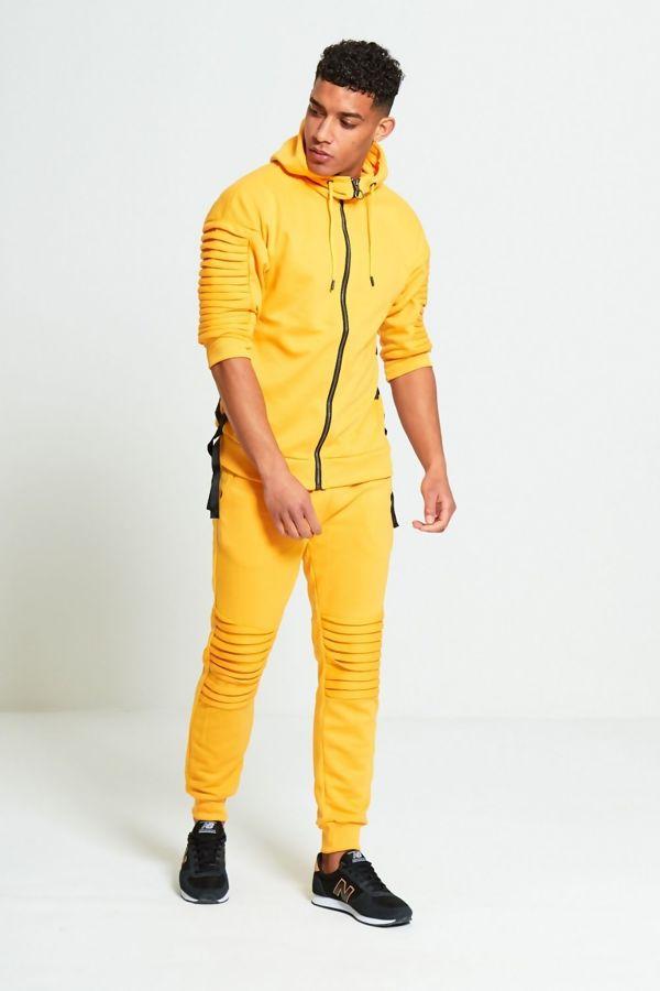 Mustard 3/4 Ribbed Sleeve Skinny Tracksuit