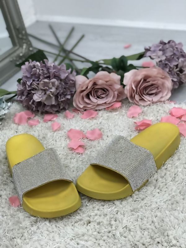 Mustard Block Coloured Glitter Sliders