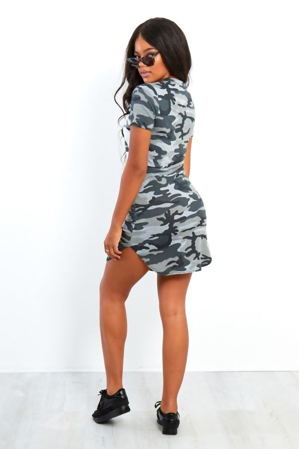 Mustard Blue Camouflage 98 Printed Bodycon Dress