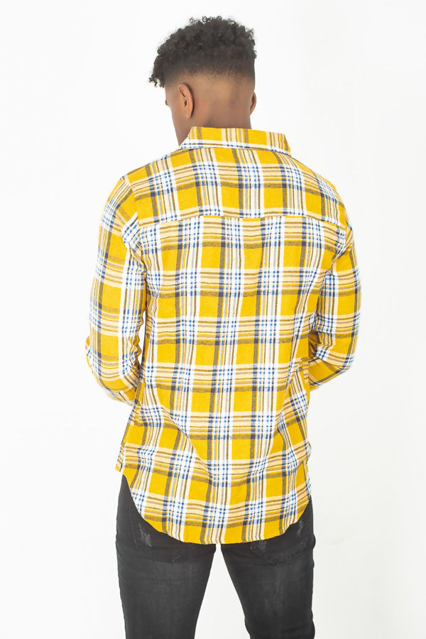 Mustard Button Up Checked Shirt