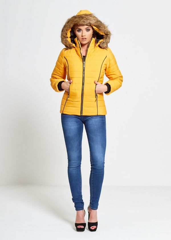 Mustard Faux Fur Lined Hood Puffa Coat