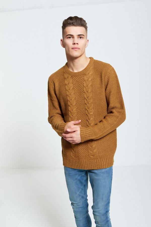 Mustard Fish Braid Knitted Jumper