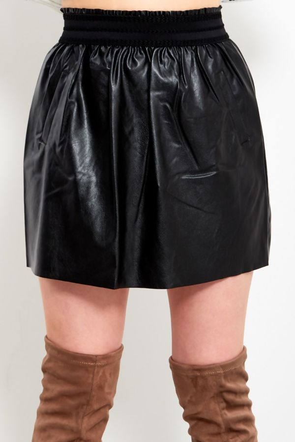 Mustard Frill Tape Leather Puff Skirt