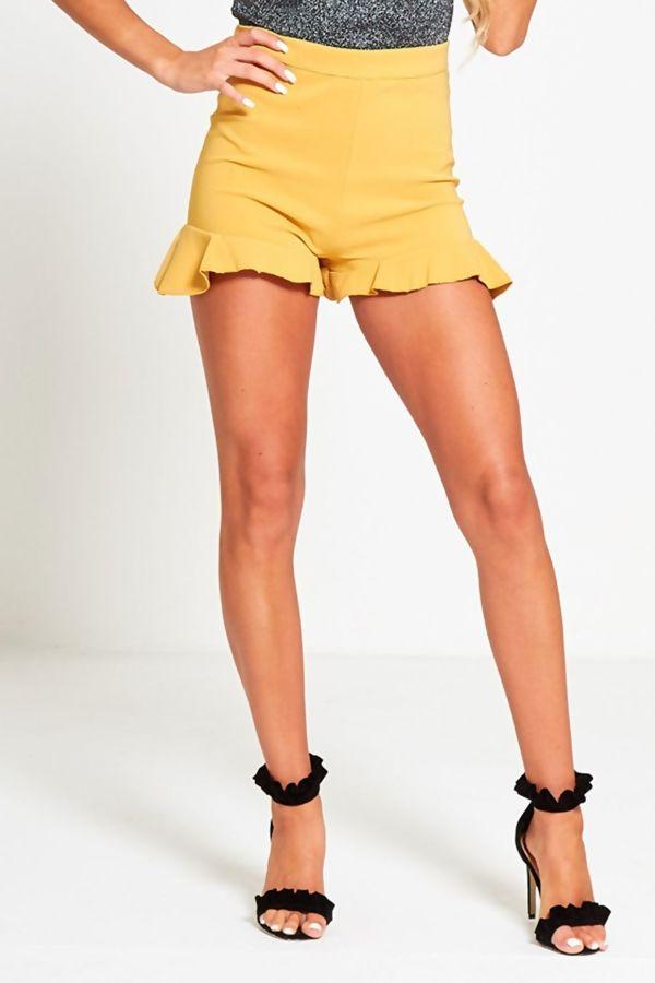 Mustard High Waist Frill Hem Shorts