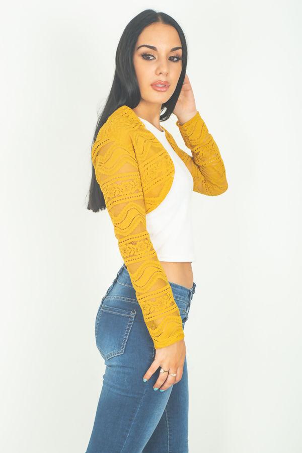 Mustard Lace Mesh Bolero Shrug
