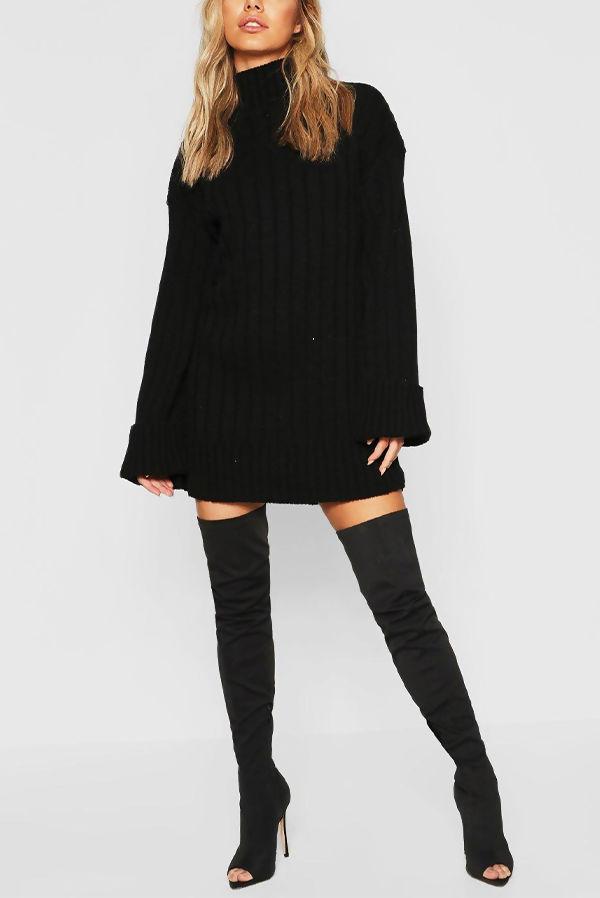 Black Oversized Rib Knit Jumper Dress