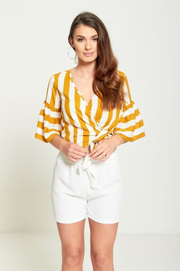 Mustard Pin Stripe Wrap Over Crop Top