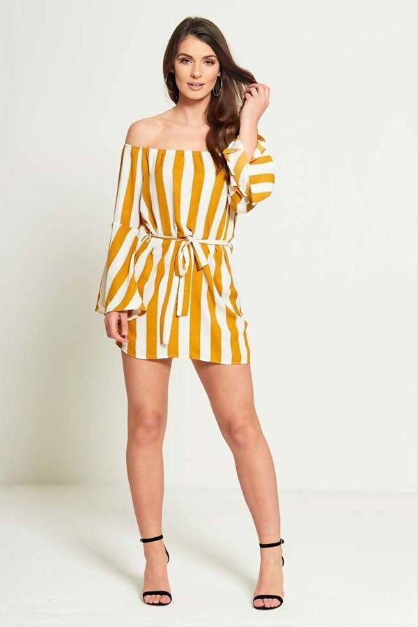 Mustard Pin Striped Off Shoulder Belted Dress