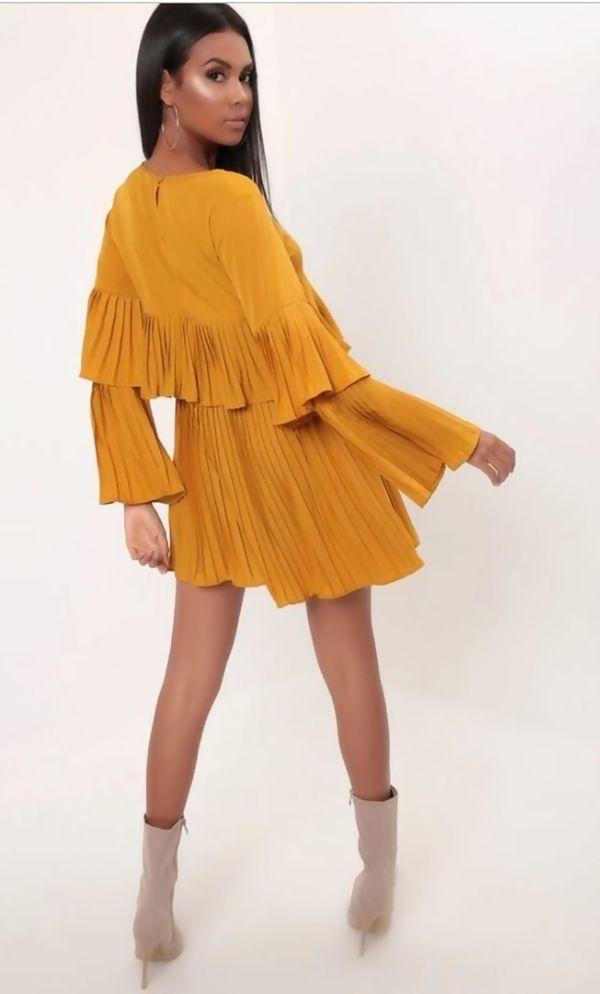 Mustard Pleated Ruffle Mini Dress